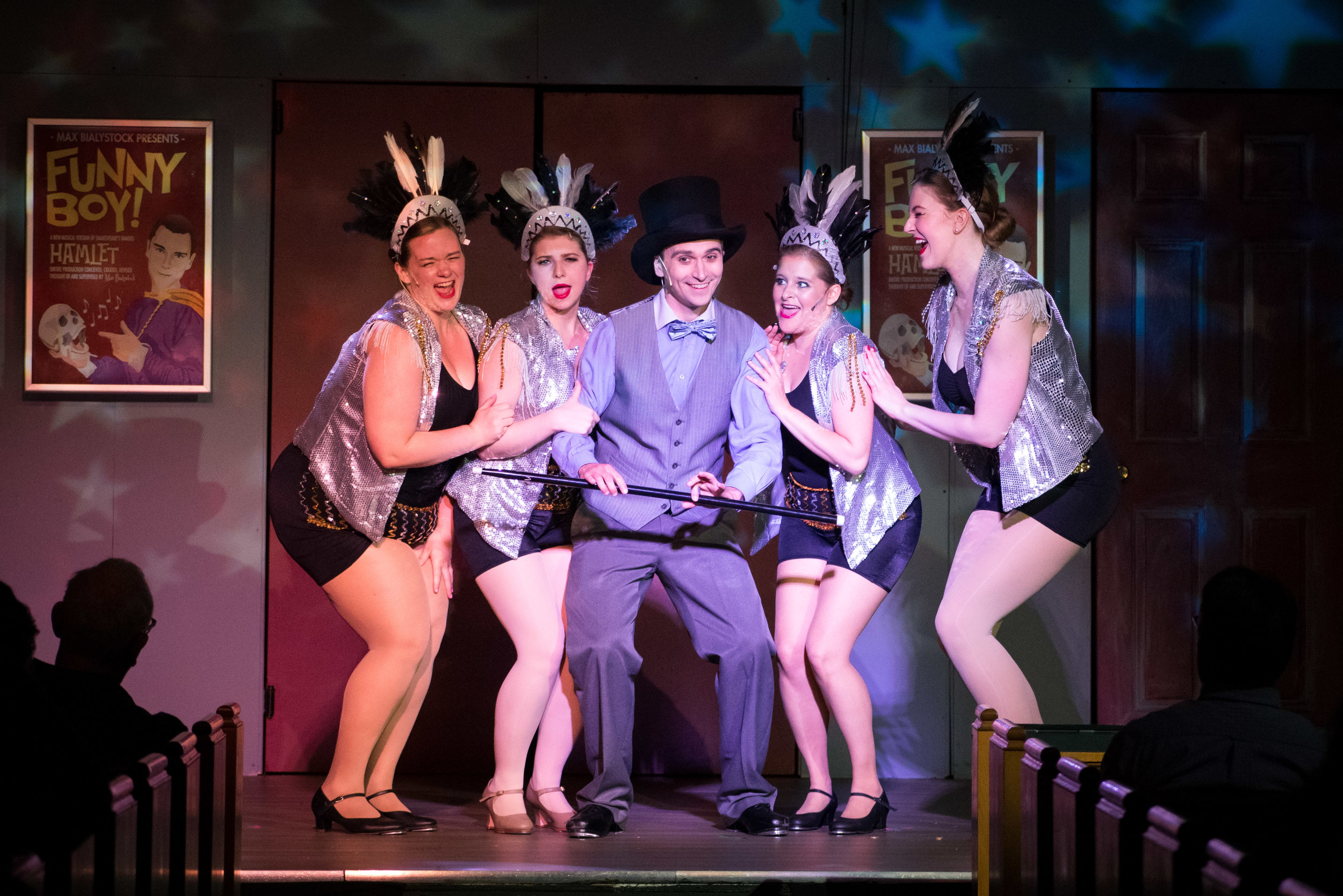 Henry Cyr (C) and some of the ensemble of  The Producers