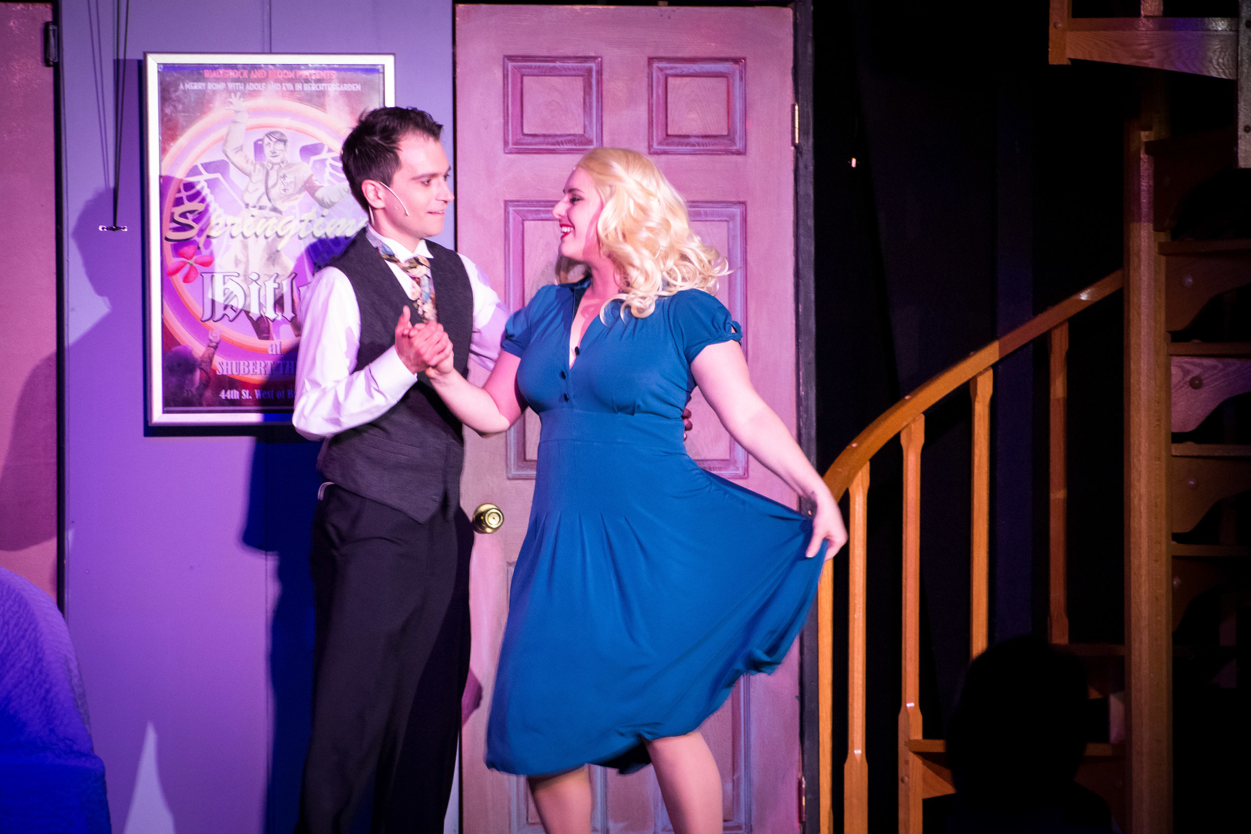 Henry Cyr as Leo Bloom and Clare Kneebone as Ulla