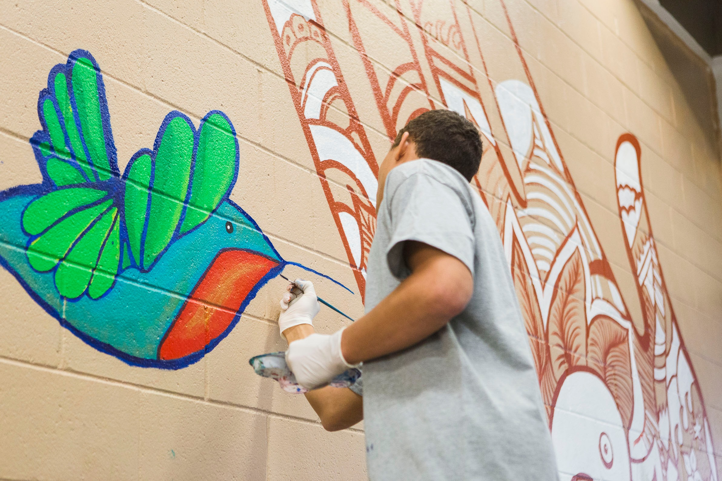 Armory Center for the Arts mural at Barry J. Nidorf -- youth painting, and final mural dedication with Probation Chief Terri McDonald.