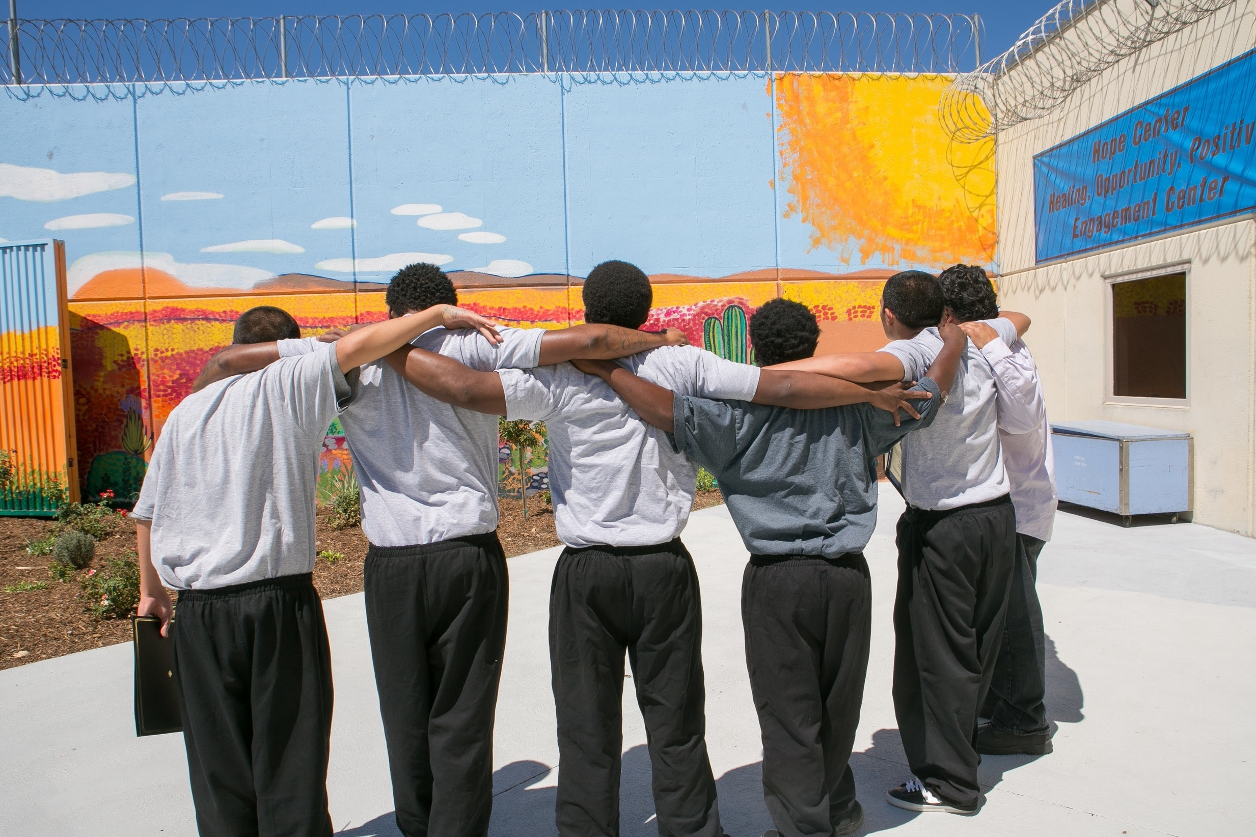 Students at Camp Challenger, as the mural they created and painted is added to the Los Angeles Public Art records  Photo Credit: Cam Sanders