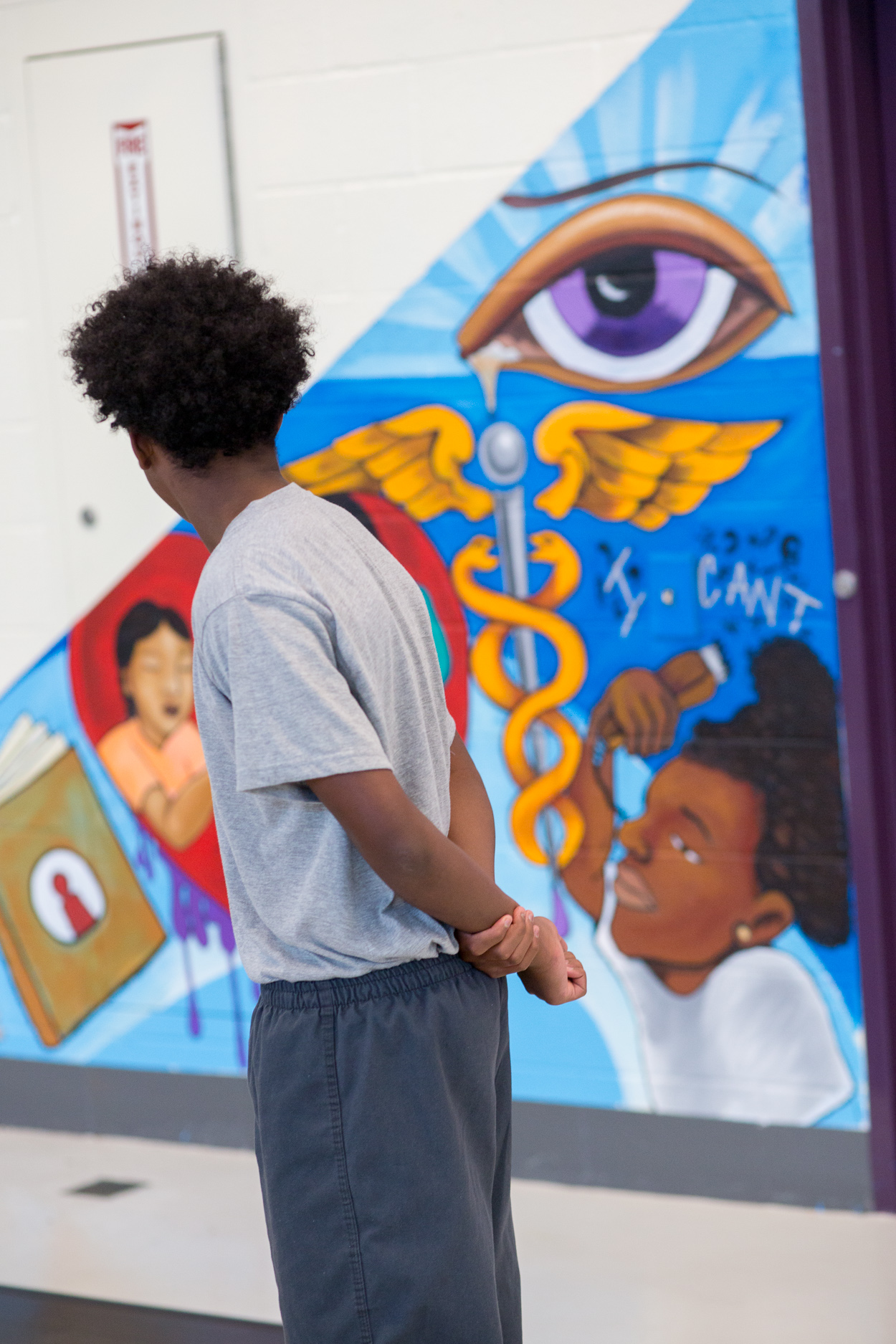 With Art for Amnesty - AIYN dedicates Hope Center mural at Central Juvenile Hall. A youth artist explains his contribution to the group mural.