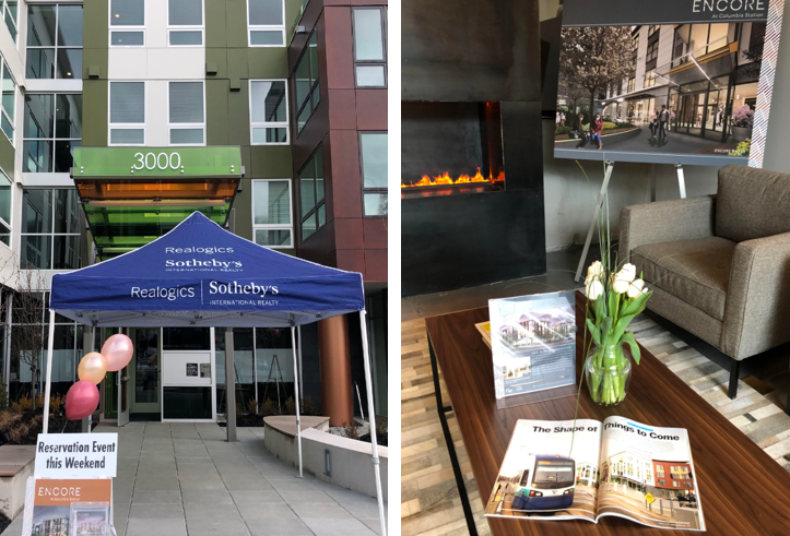 Above: The lobby and great room at Sonata Apartments (located across the street from Encore) provided an inviting venue to showcase Encore at Columbia Station. Additional presentations will now be offered on an appointment basis.