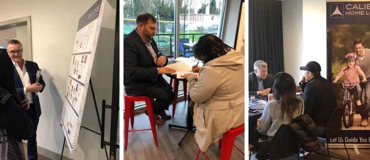 Above: Members of BDR, RSIR and Caliber Home Loans meet with prospective buyers during the Encore at Columbia Station pop-up reservation event.