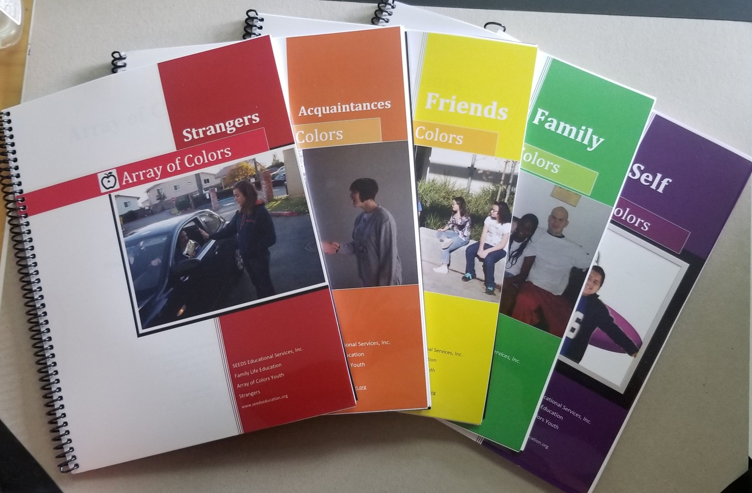 Array of Colors - Teaching people with intellectual disabilities regarding relationships can be challenging and difficult without the right tools. Many students have difficulty understanding the concepts of friends vs. friendly, friendly vs. boy/girlfriends, and touch boundaries.Please call for pricing.