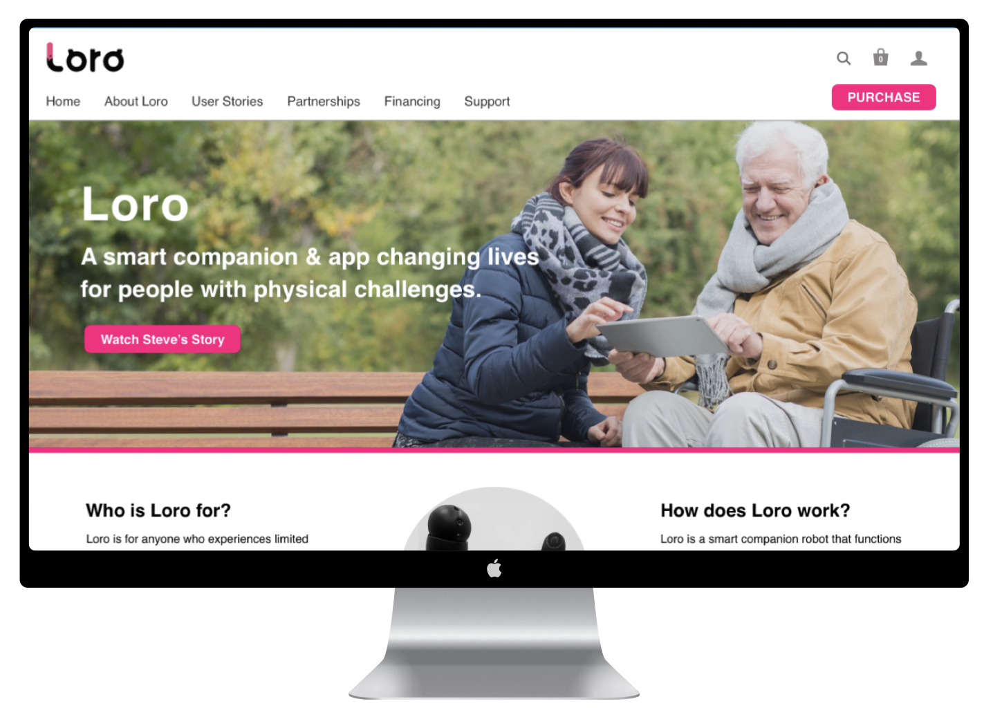 Loro - An accessible website and on-boarding for a smart, AI powered assistive device.