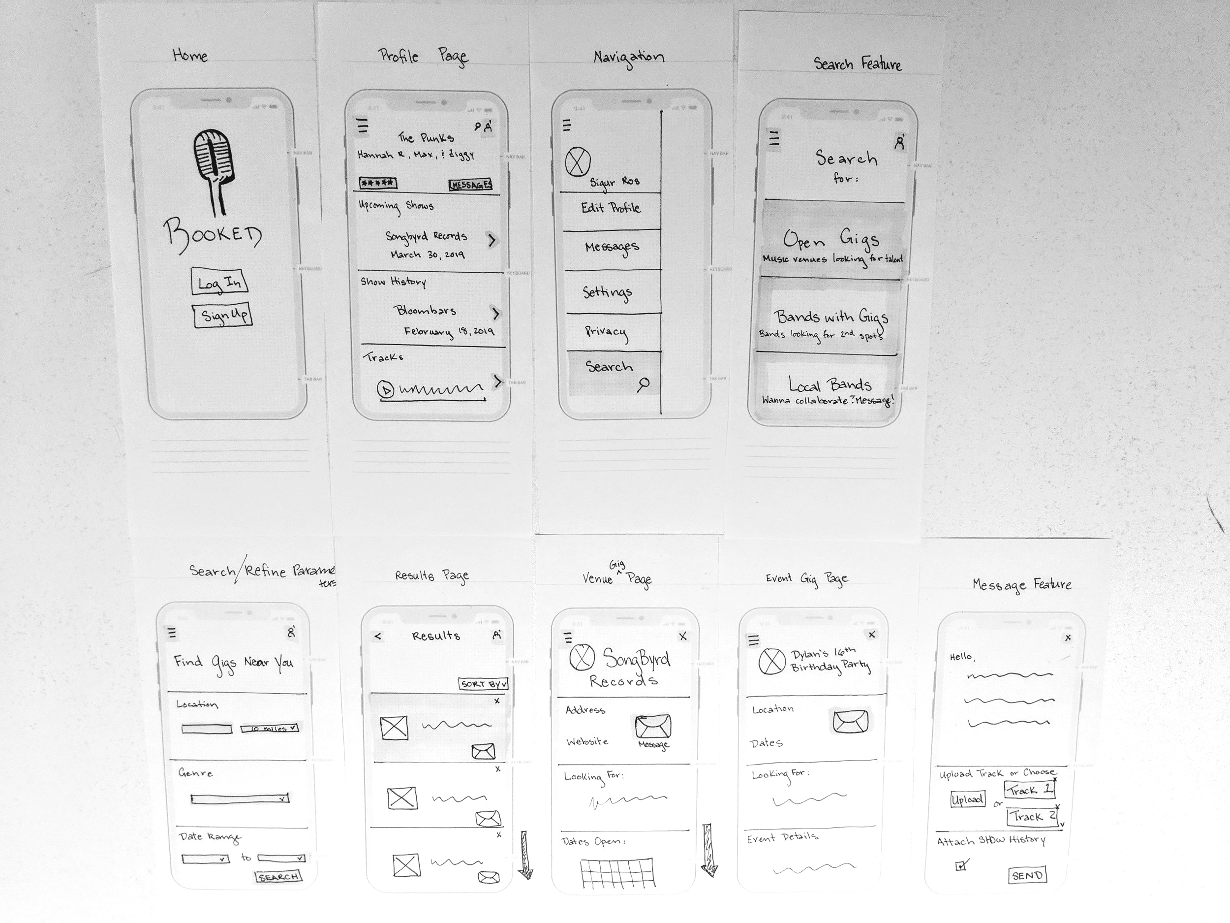 Booked Paper Prototype