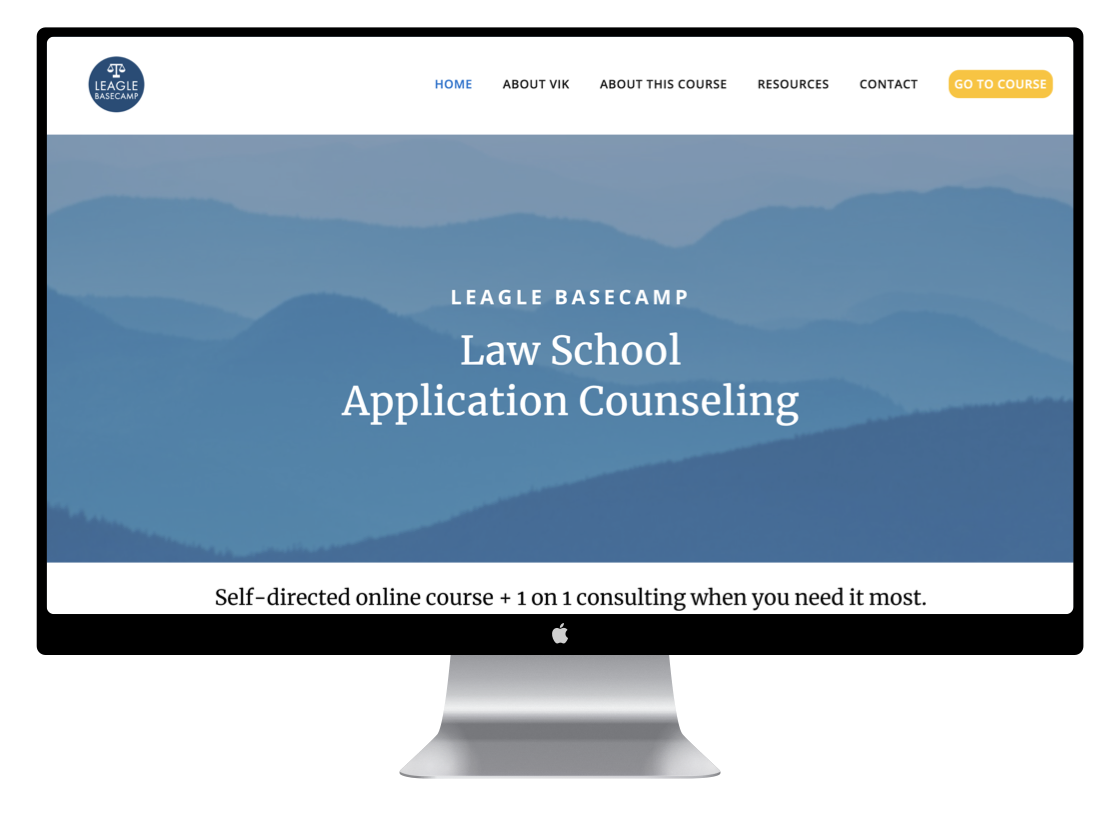 Leagle BaseCamp - A website & course platform for a law school admissions consulting service and online course.