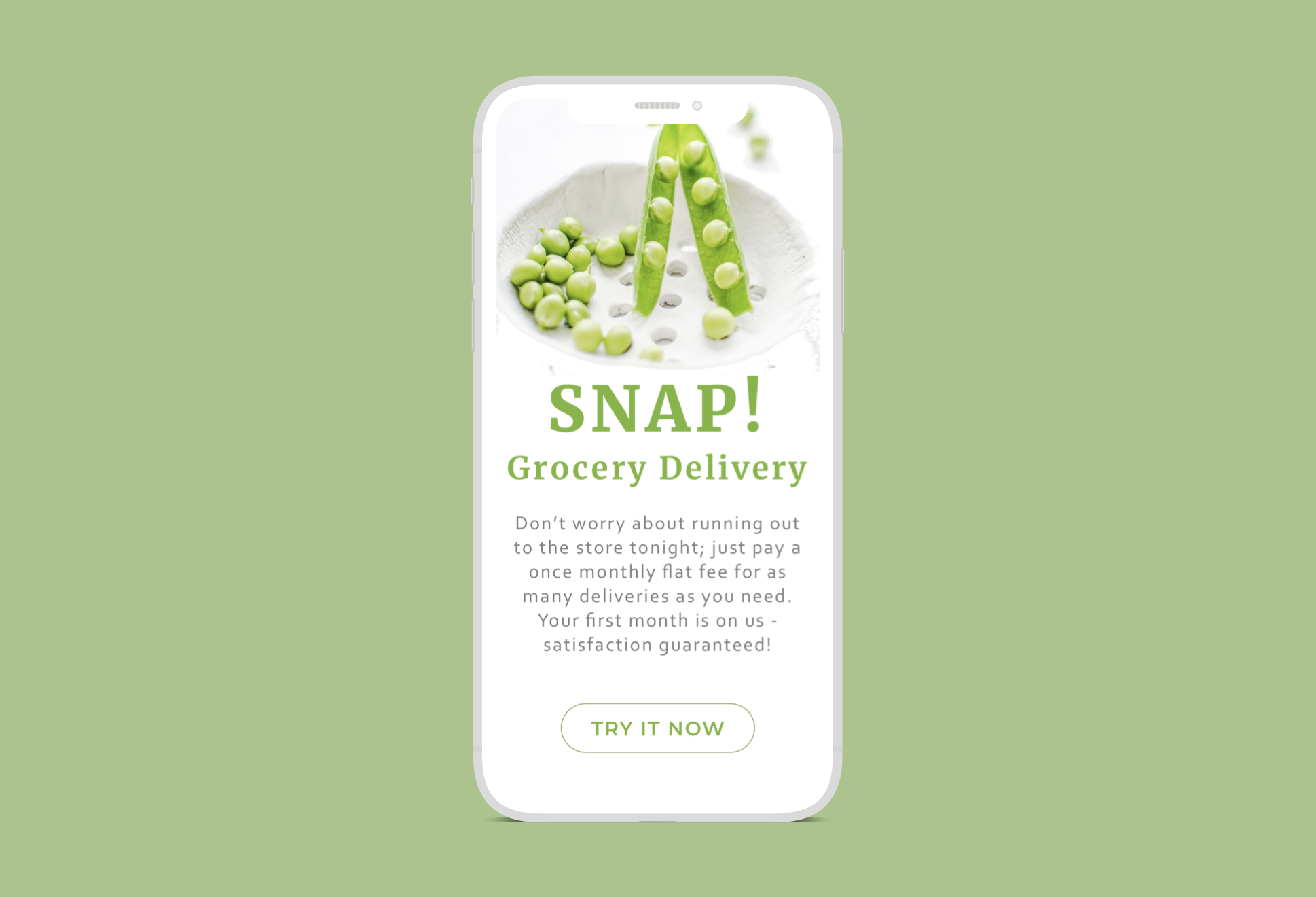 UX Writing Challenge: Day 4 - Scenario: A user is in their favorite supermarket. They open the supermarket's app on their phone to see what's on sale and are greeted by a promotion.Challenge: Write a promotional home screen for a subscription service that delivers groceries to the user once-a-month for a flat fee.