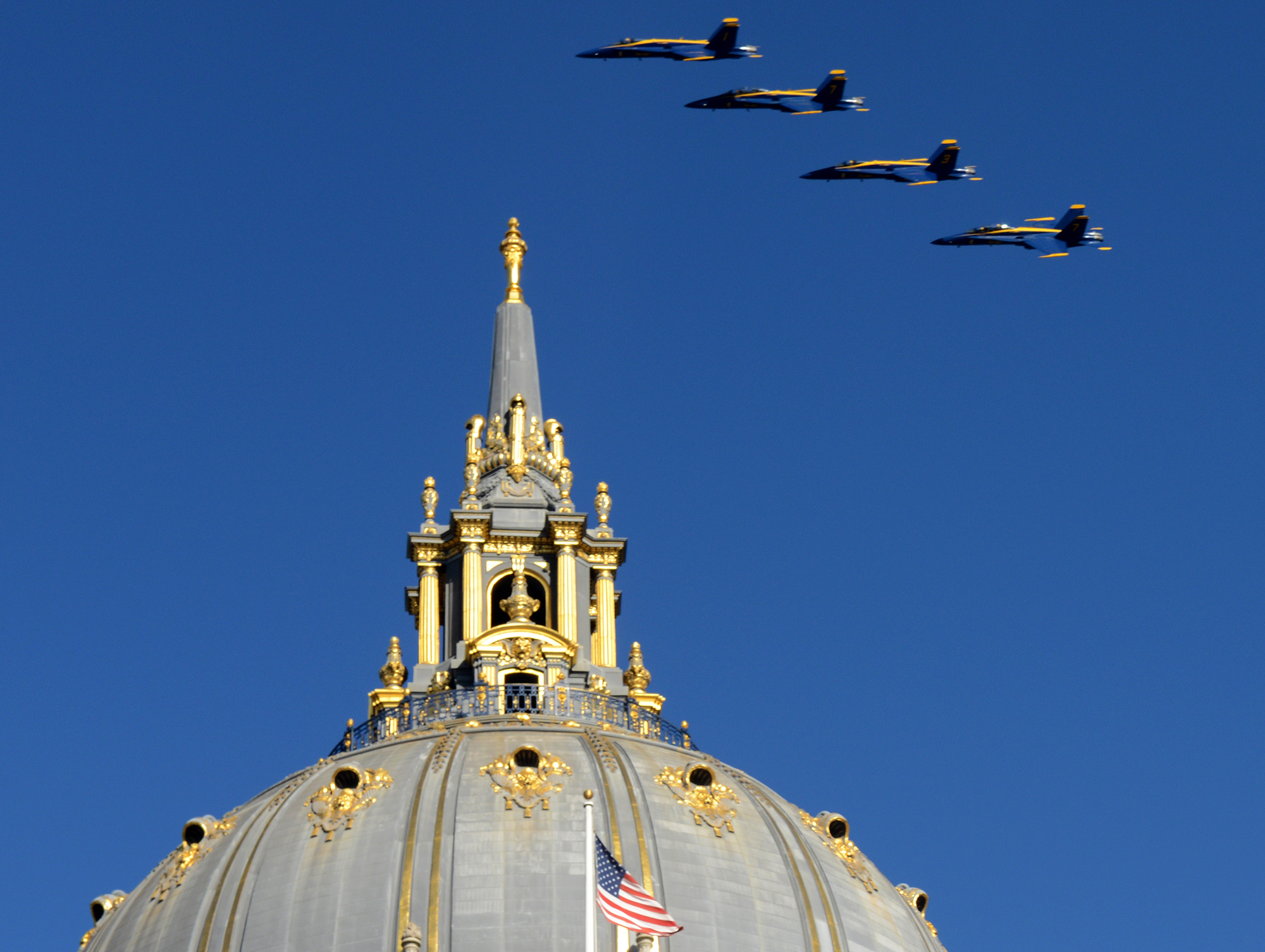 The U.S. Navy Blue Angels fly over City Hall in San Francisco, Ca. on Thursday, October 6, 2016 during a survey run of the city before they perform for the city on Friday and Saturday during Fleet Week. Photo by David Andrews.