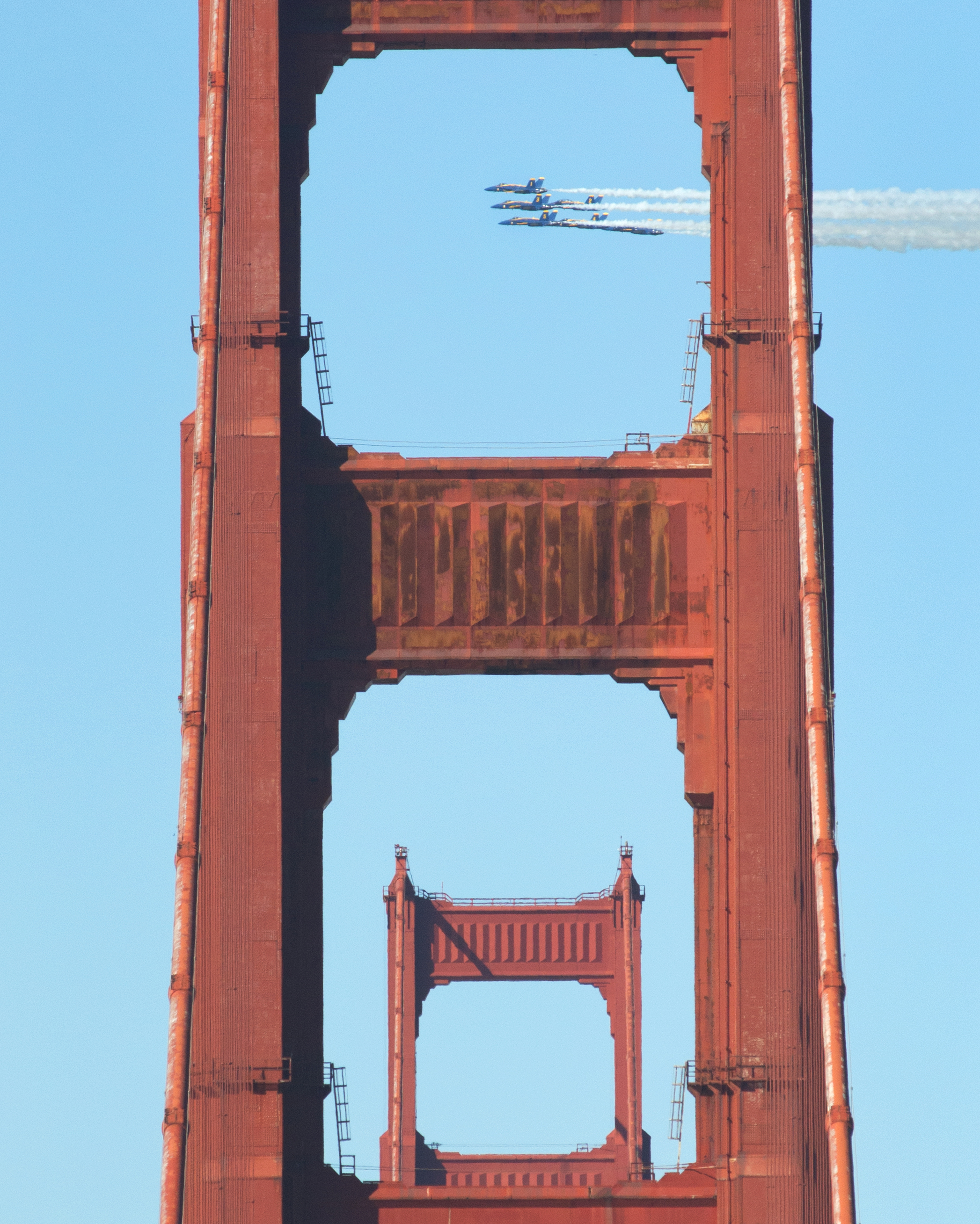 The U.S. Navy Blue Angels fly over the Golden Gate Bridge in San Francisco, Ca. during the final run of Fleet Week on Saturday, October 6, 2018. Photo by David Andrews.