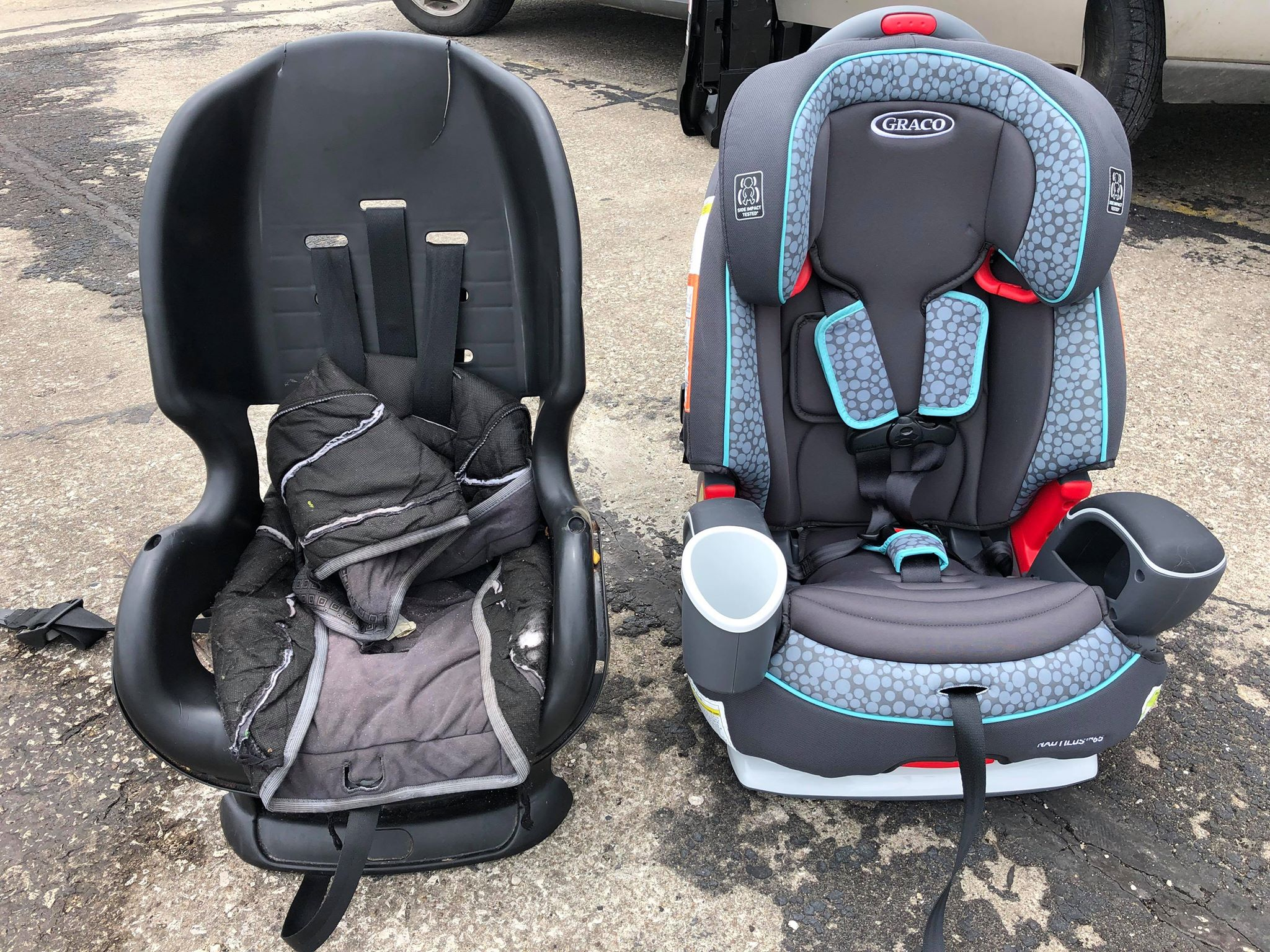 Out with the old, in with the new! Above is one of many car seats replaced and installed at the event.