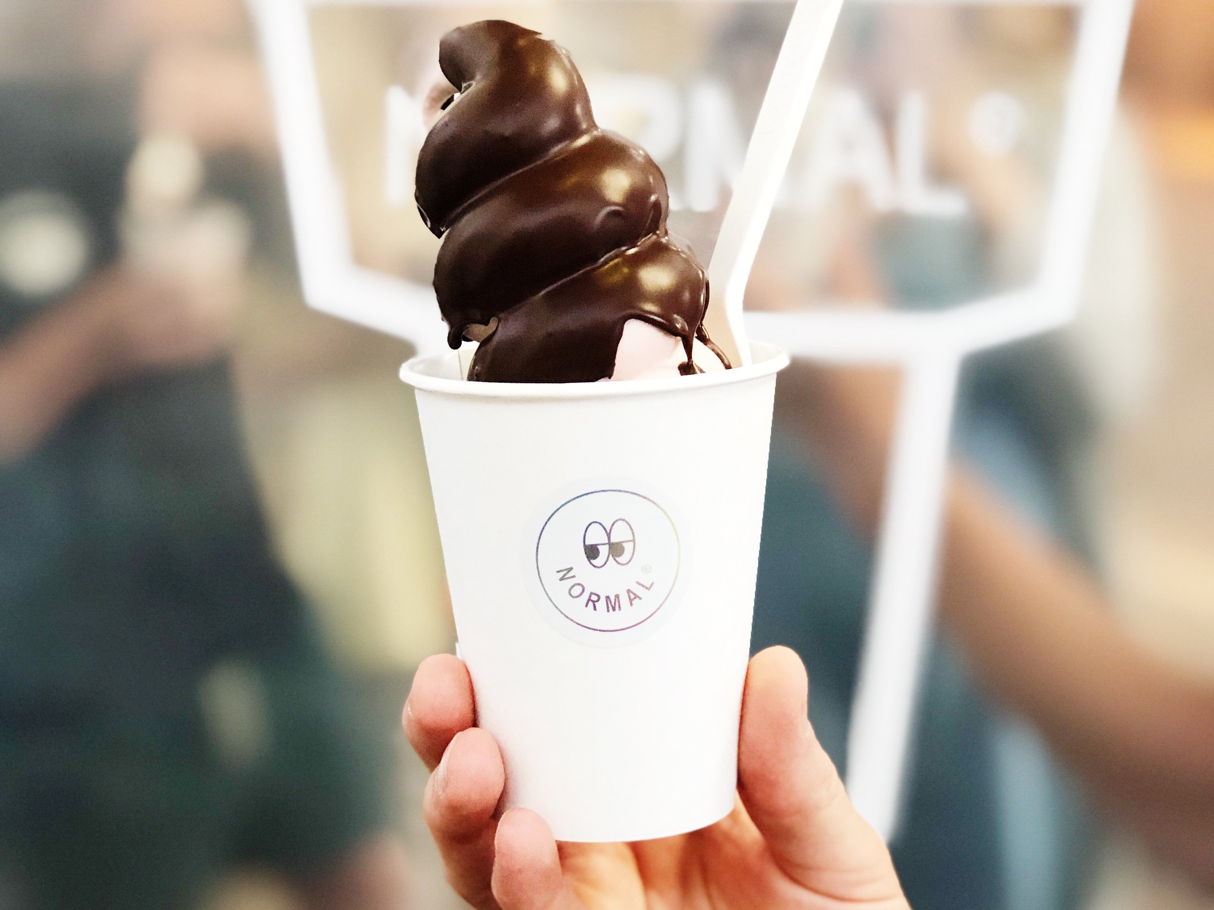 Normal Ice Cream uses our chocolate for all of their chocolate shells, bases, and chocolate-themed composed cones.