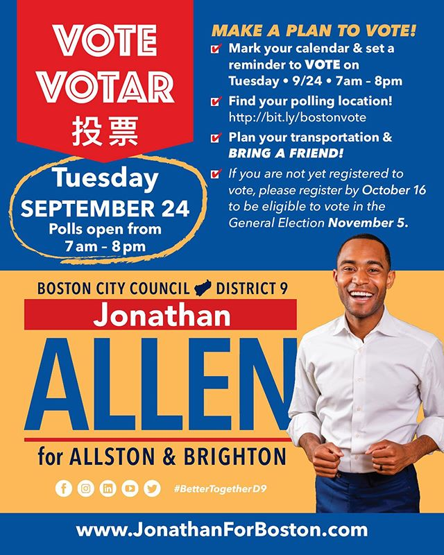Make a plan to VOTE on Tuesday! 🗳🗳 1) Mark your calendar and set the reminder! 2) Find your poll location: bit.ly/boston 3) Plan your transportation! 4) BRING A FRIEND! • #Community #WeAreBetterTogether #JAforBoston #Brighton #Allston #Boston #BostonCityCouncil #positivity #massachusetts #volunteer #BetterTogetherD9 #bospoli #brightonma #allstonma #allstonbrightoncommunity #electionday