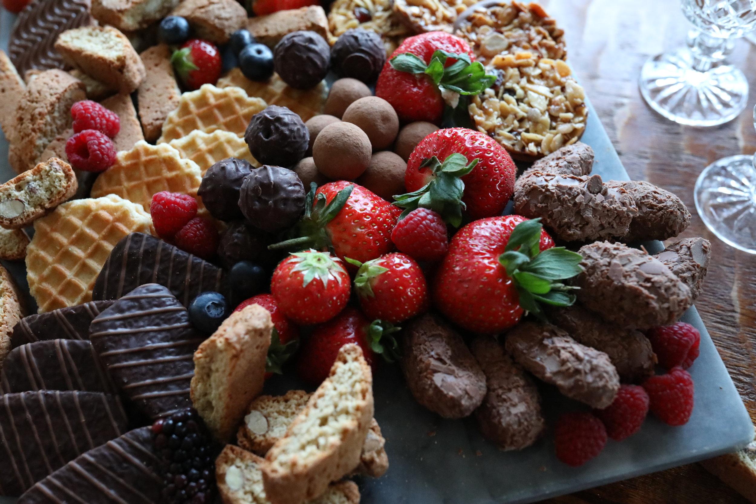 ASSORTED CHOCOLATES & FRUIT DESSERT BOARD