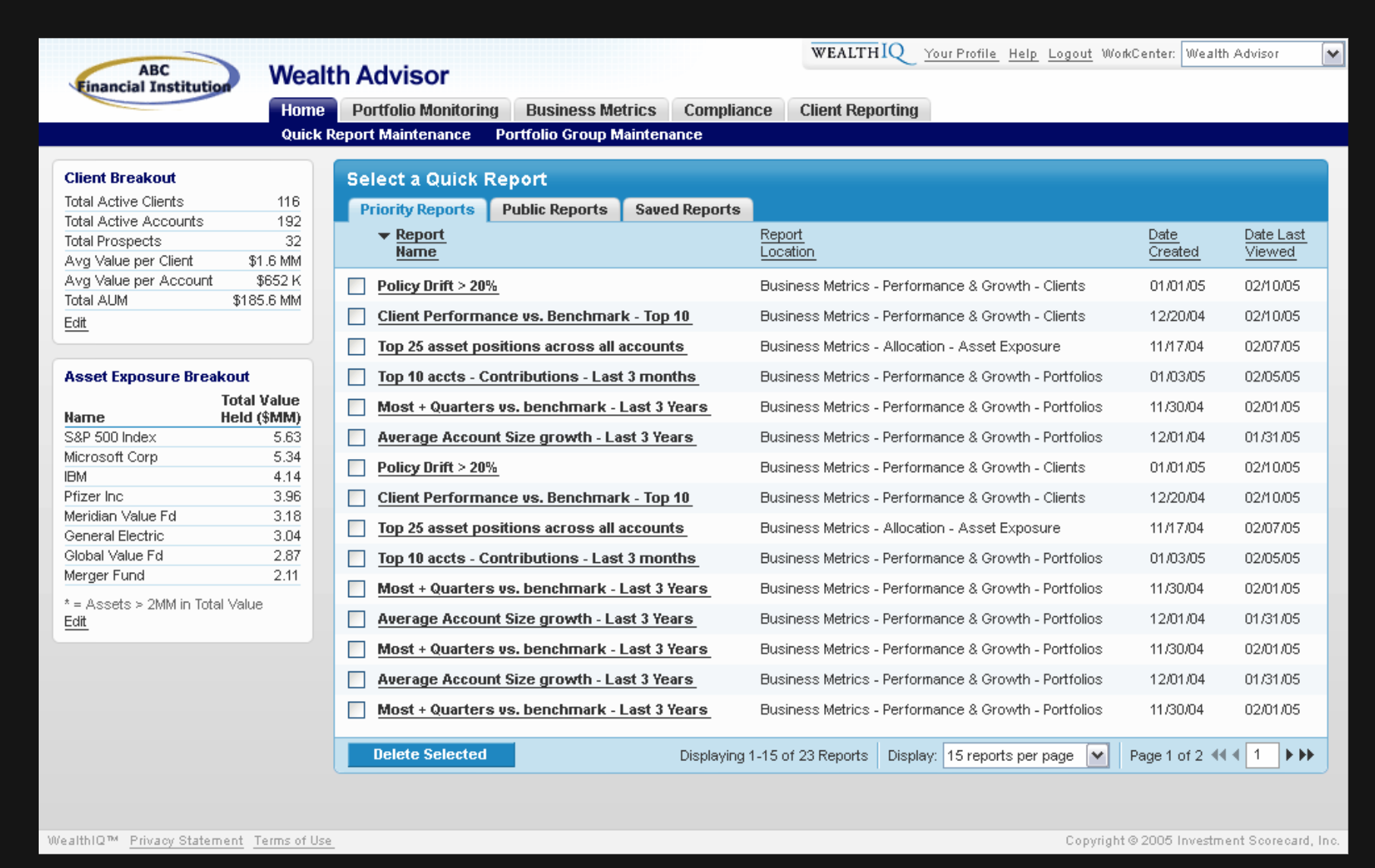 Screenshot of quick report screen