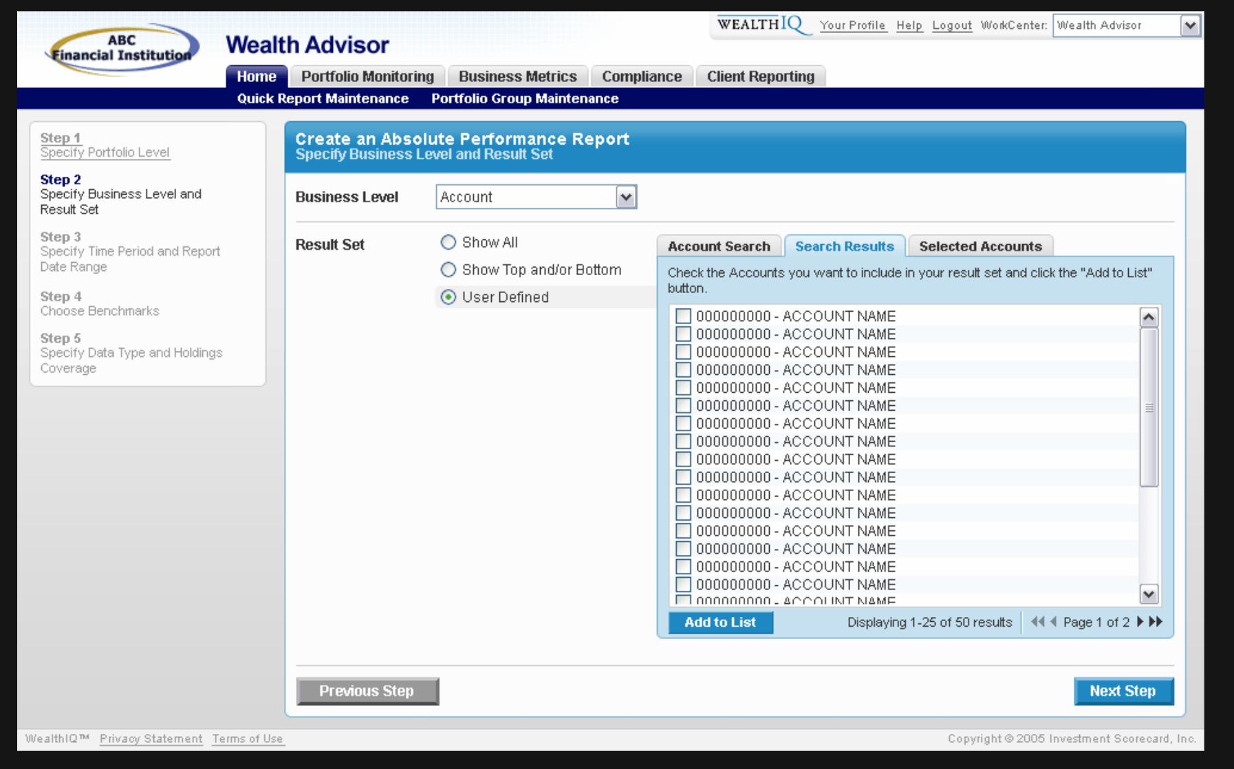 Screenshot of report builder screen