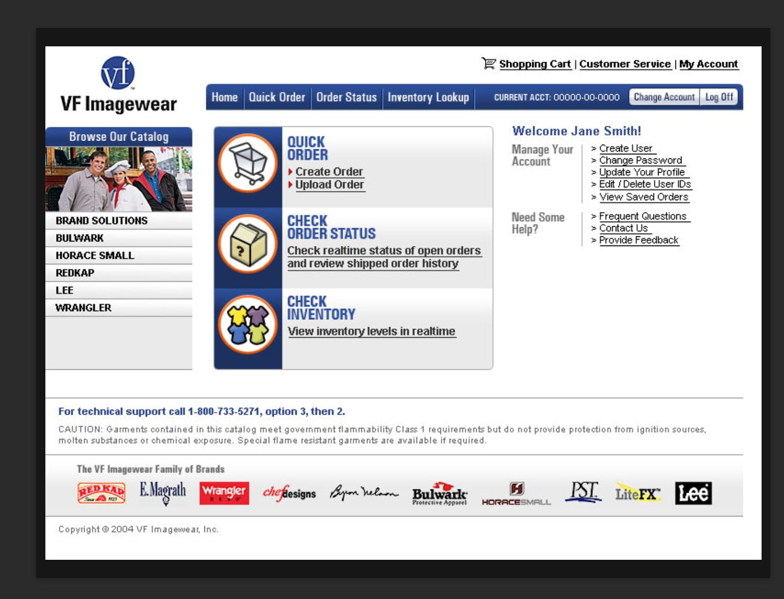 Screenshot of VF Imagewear ecommerce home screen