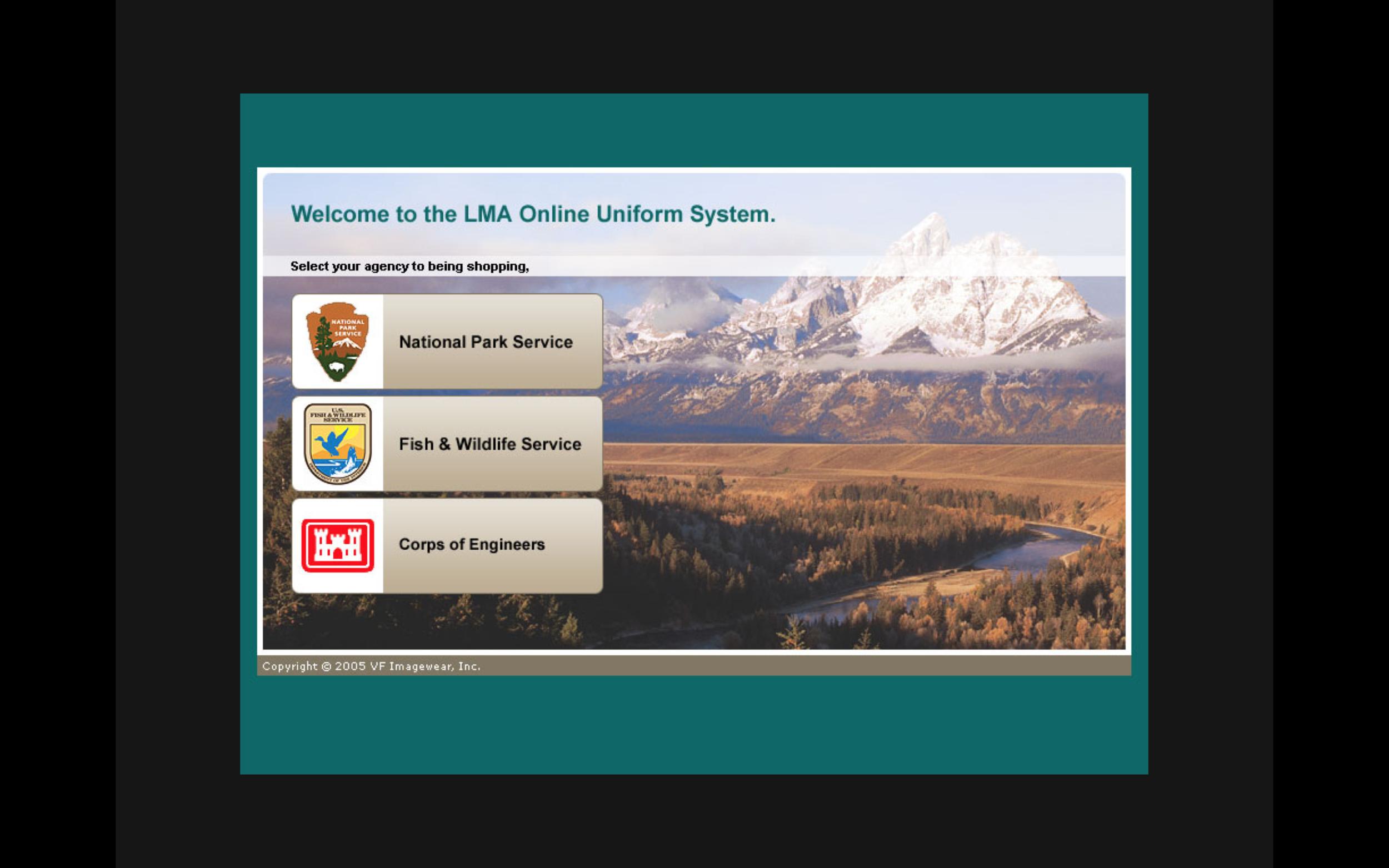 Screenshot of organization selection screen