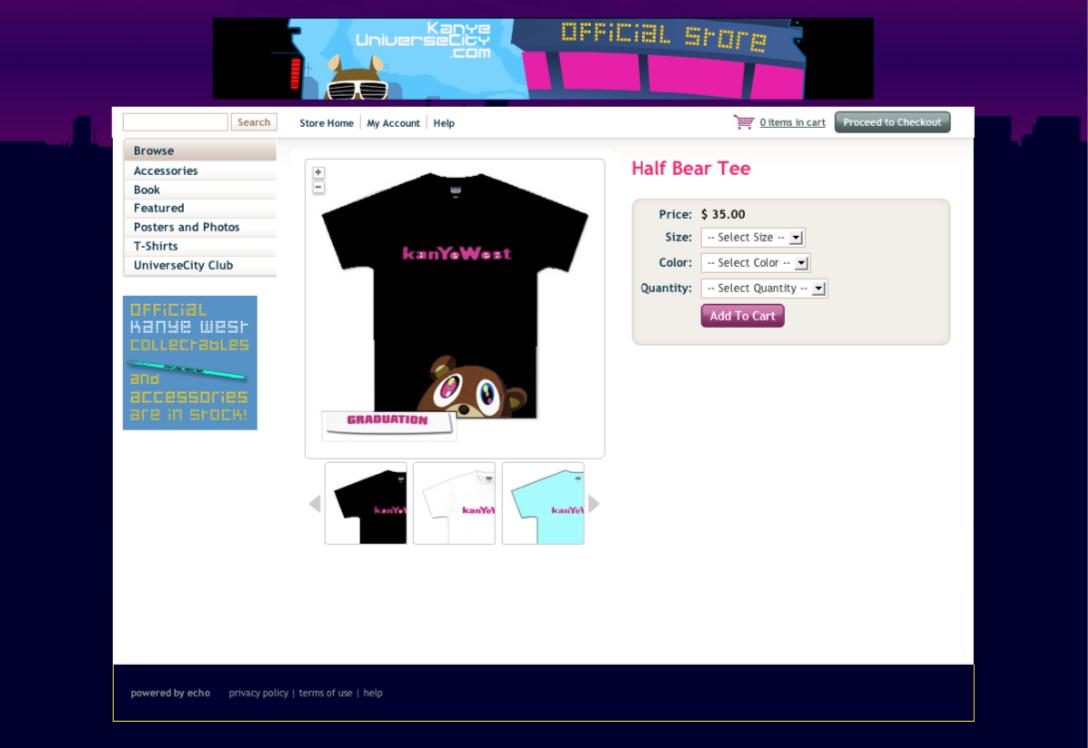 Screenshot of product screen