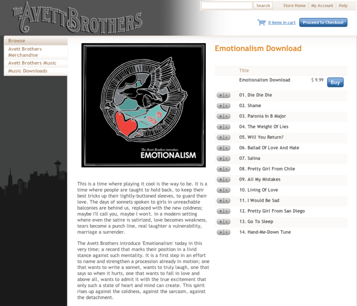 Screenshot of ecommerce music download screen