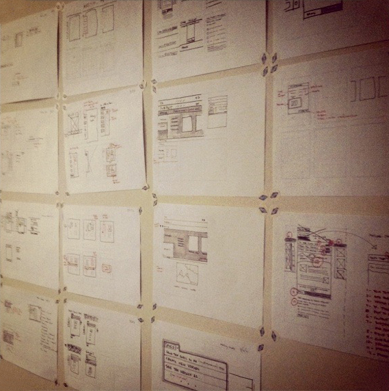 Photo of drawings produced during design sprints