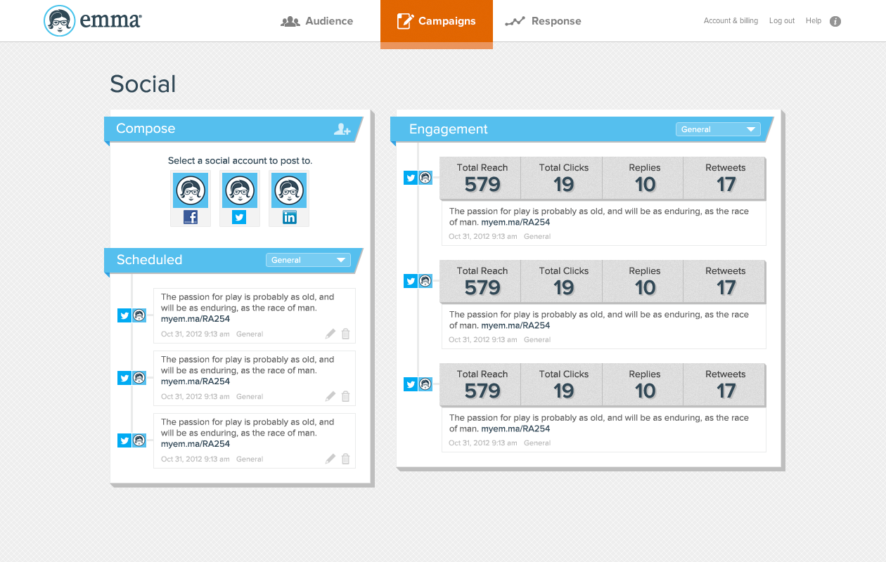 Screenshot of experimental social prototype created as part of the Emma Labs team