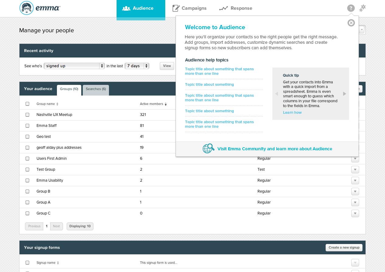 Screenshot of help widget