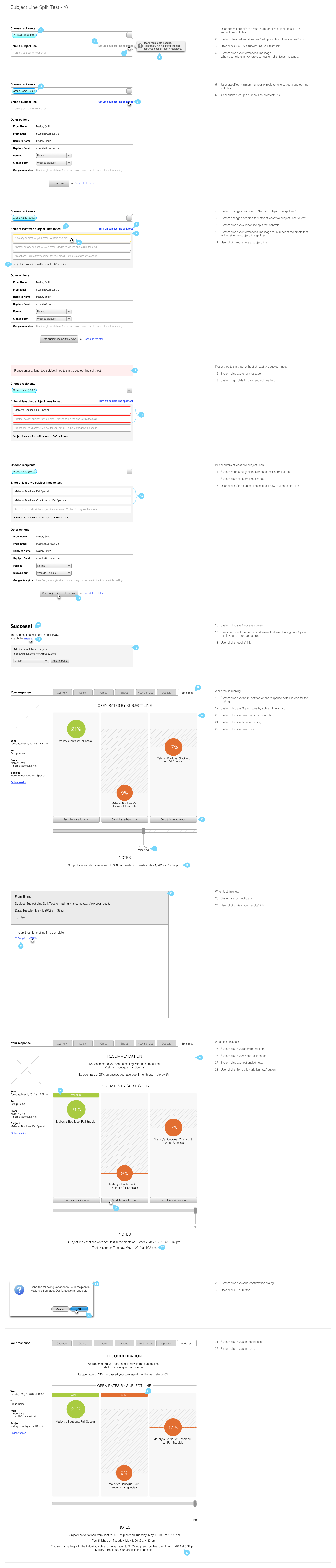 Workflow mockup for subject line split testing feature