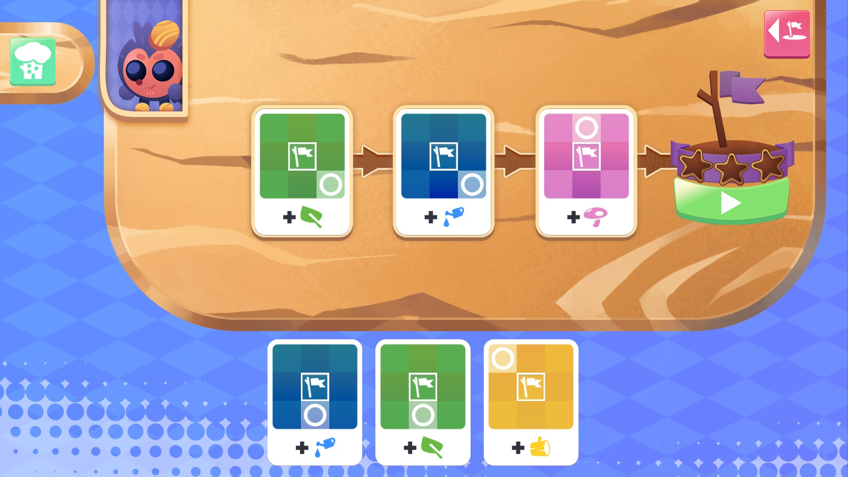 Players program creatures by placing plant and watering cards into their state machines.