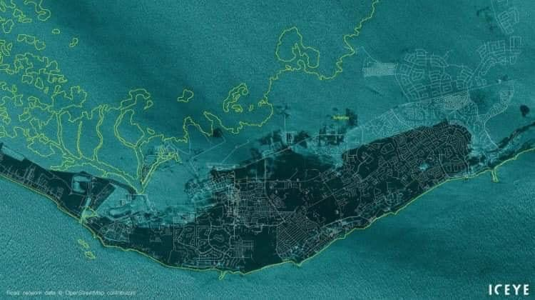Satellite photograph of Grand Bahama under Dorian floodwaters, courtesy of  Iceye , shared  innumerable times on Facebook
