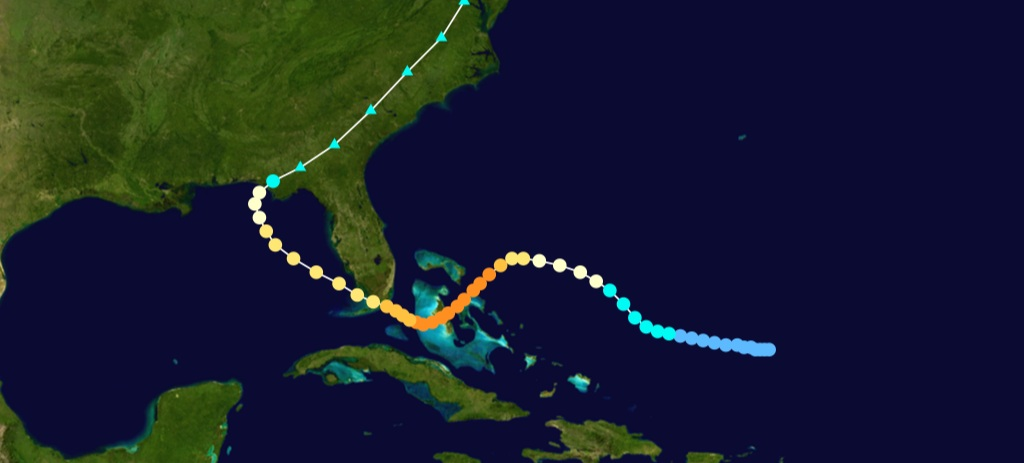 Path of the 1929 Hurricane which sat for 60 hours of Nassau and devastated New Providence and Andros