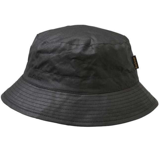 BARBOUR WAXED-COTTON HAT - Waterproof, surprisingly lightweight and good when it's not too sunny—say, pursing for salmon on a rainy October day when morale is low. £28 from Outdoor and Country.