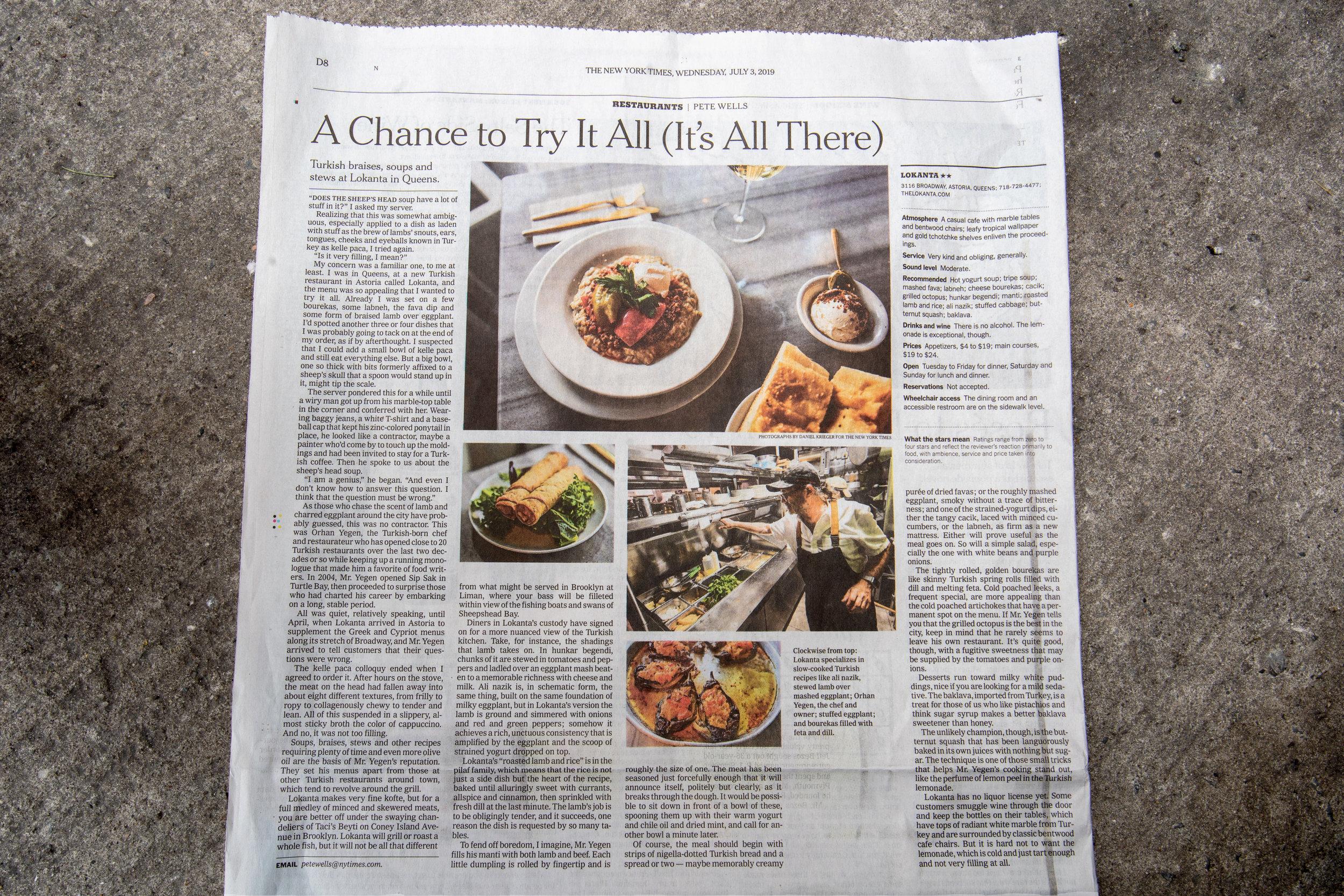 / NEW YORK TIMES I FOOD I JULY 03, 2019 /