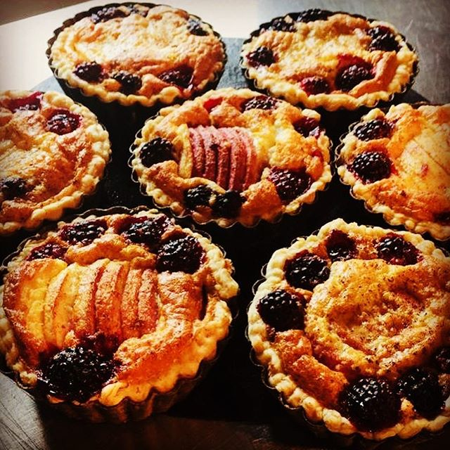 Hedgerow Blackberry and Apple Tarts Just Out of the Oven! #puddings #tart #jules #Weobley #Herefordshire