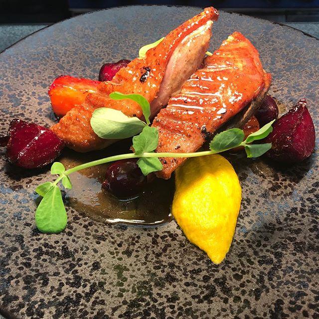 New Addition to the Menu! #Duck #HoneyRoastCarrots #PickledCherries #CarrotGingerPurée #Weobley #Herefordshire #Food