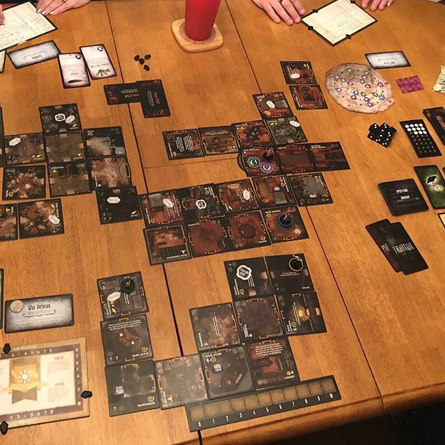 A very crowded very haunted house while playing Betrayal Legacy tonight. #gamenight #writerfriends #betrayallegacy #boardgames