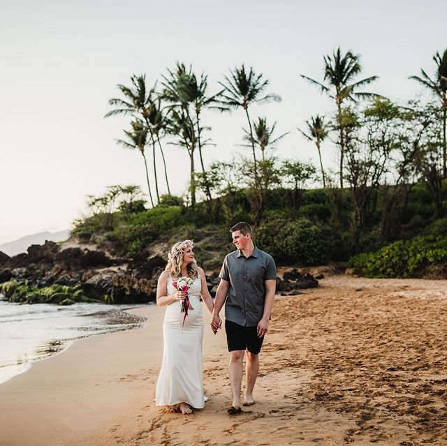 A beautiful elopement in Maui. Sand, sun and vows on the beach. They traveled from Alaska to marry under the Hawai'i sunset.  Photo | @jamietaylorphotography