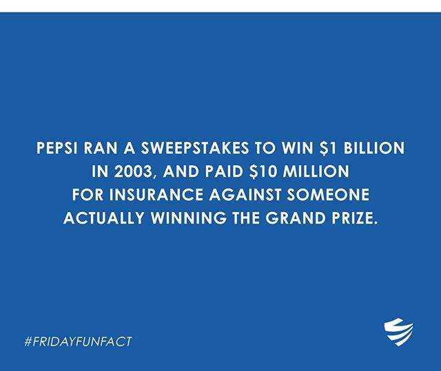 That's 10 Million with an M! 😳⠀ ⠀ #FridayFunFact #TGIF #Insurance #Fact #History #Pepsi #Sweepstakes #Coverage