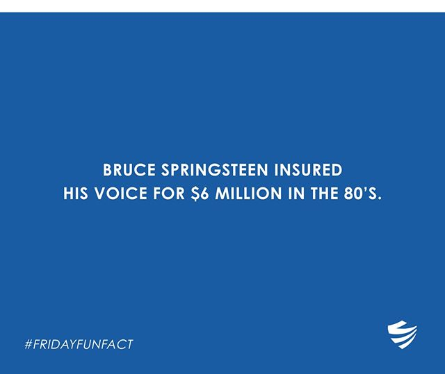 The Boss made sure he had a safety net just in case! 🎤🎸⠀ ⠀ #Insurance #FunFact #Facts #TheBoss #BruceSpringsteen #Voice #Coverage #TGIF