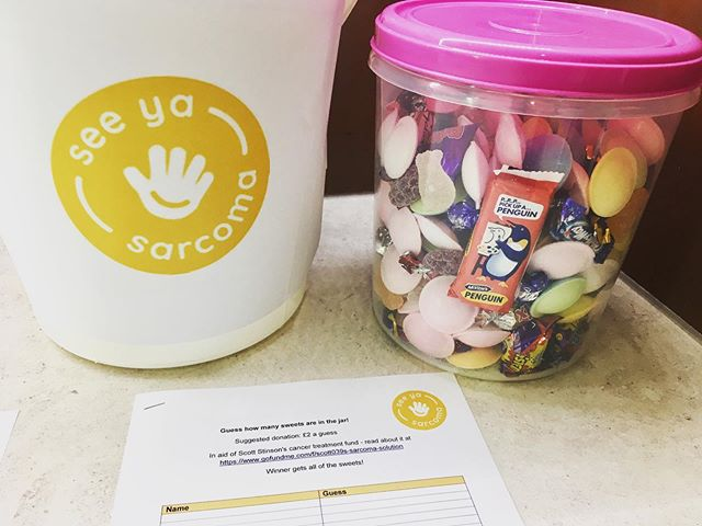 Can you guess how many sweets are in the jar??? 🍭 🐧 🍬 #fundraising #seeyasarcoma #cancerawareness #guessthesweets