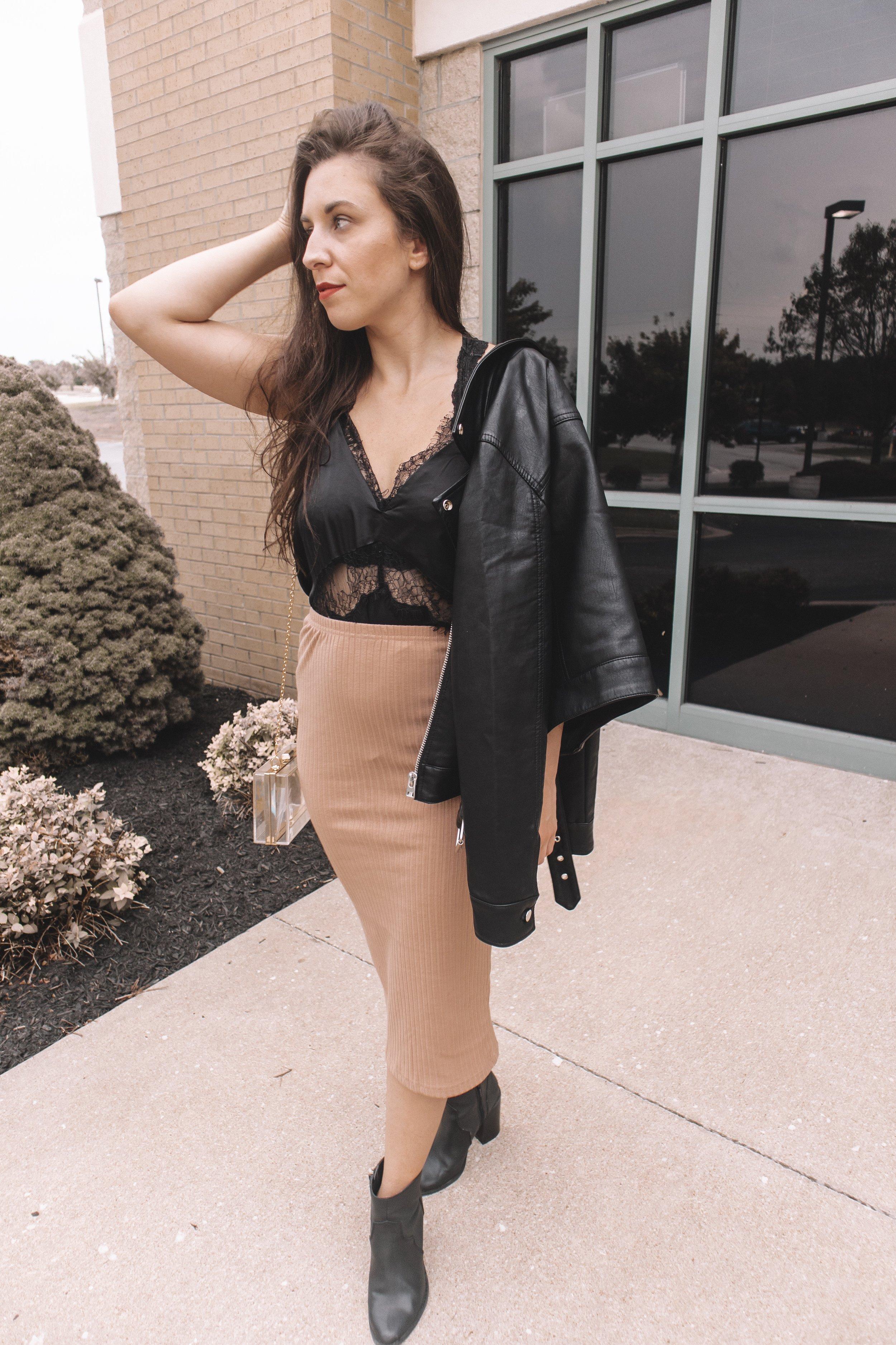 Amazon Fall Fashion Try-On Haul Ribbed Midi Skirt