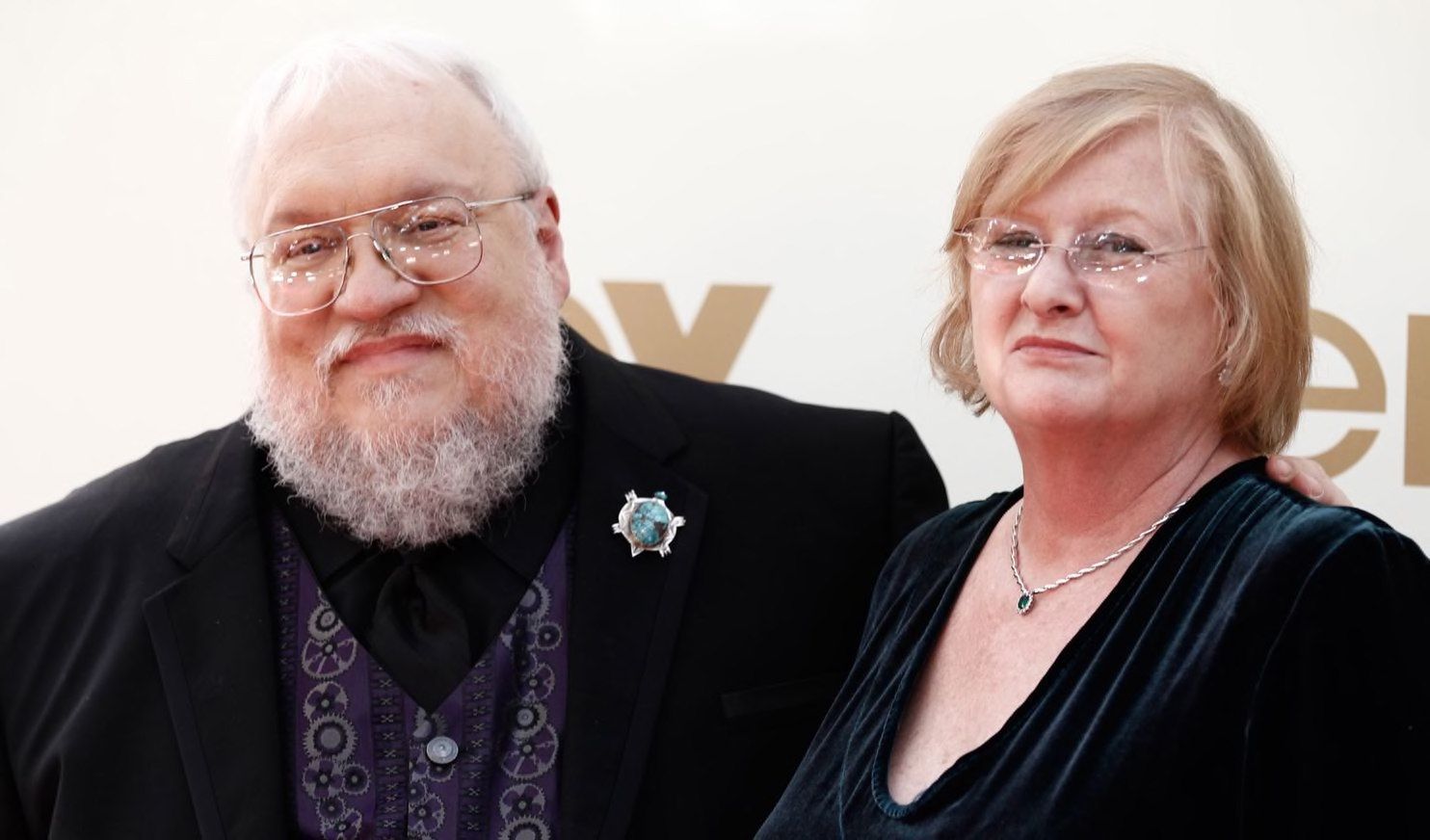George R.R. Martin and Parris McBride arrive at the 63rd Primetime Emmy Awards on Sept. 18, 2011, in Los Angeles. (Matt Sayles/AP)