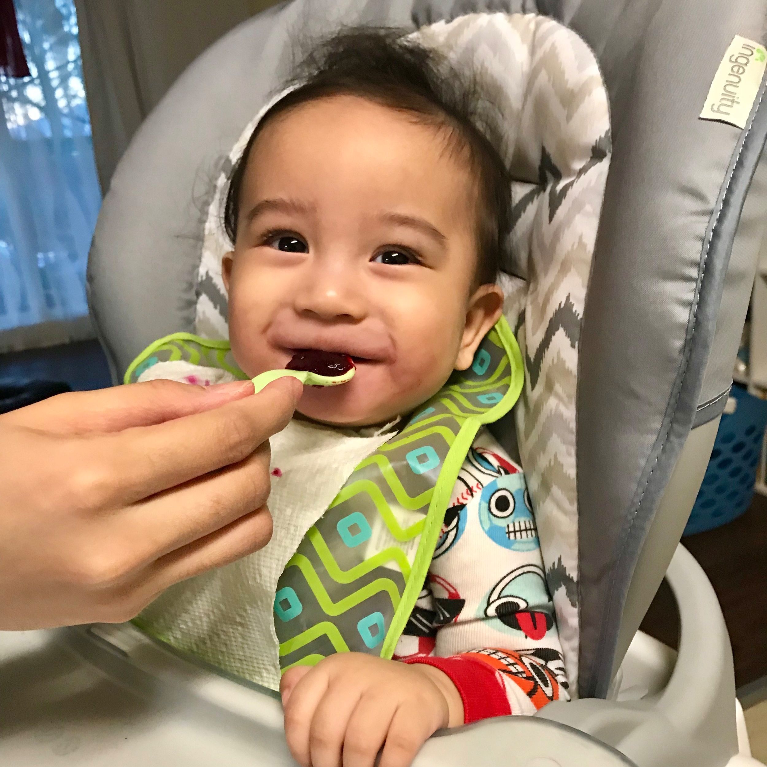 """""""We are so happy ordering Born Bright Foods as his first foods. Not only is it fresh but I can't believe how yummy the flavors are!""""- Gem, Mom of 1 -"""