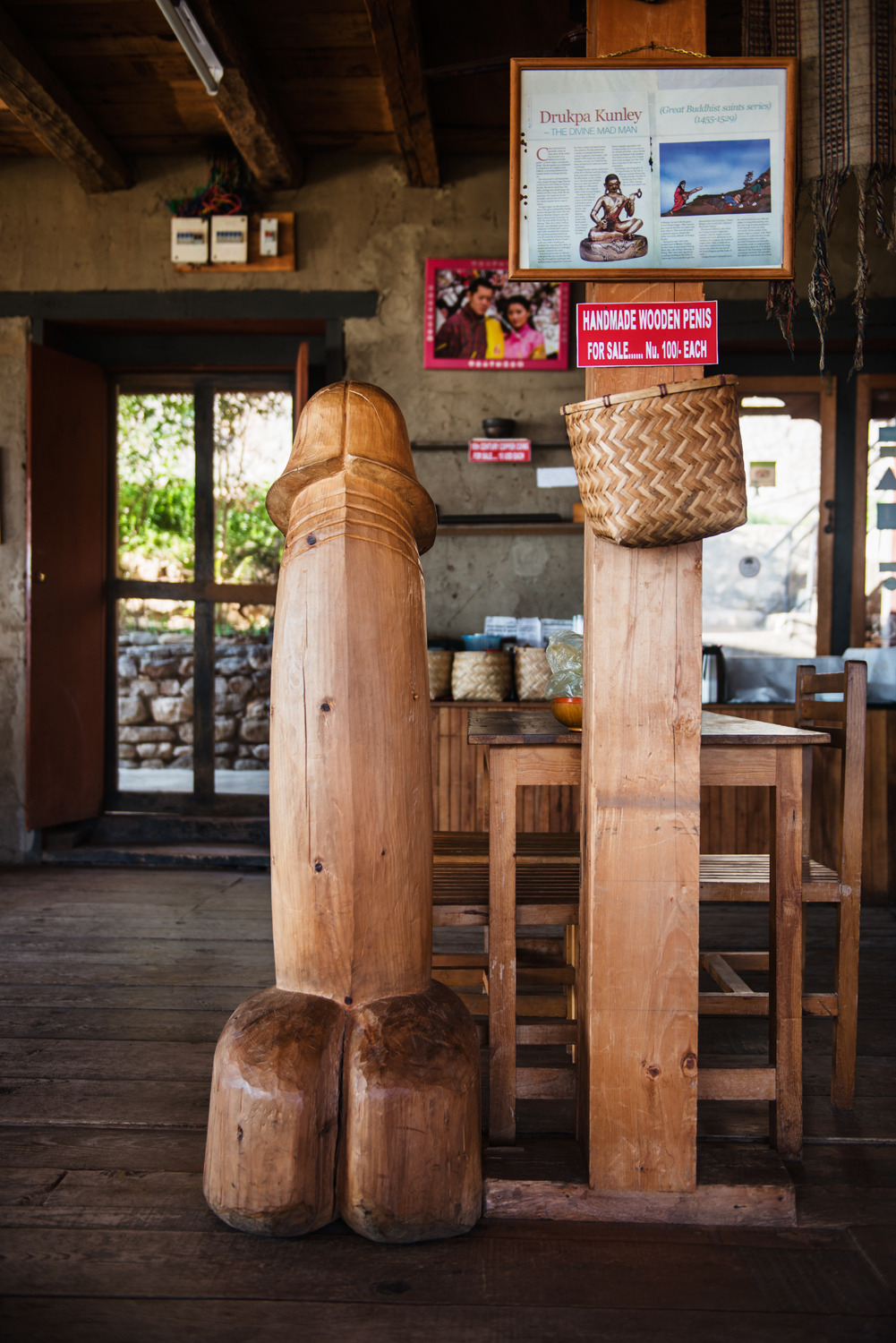 A wooden Phallus standing tall in a local restaurant.
