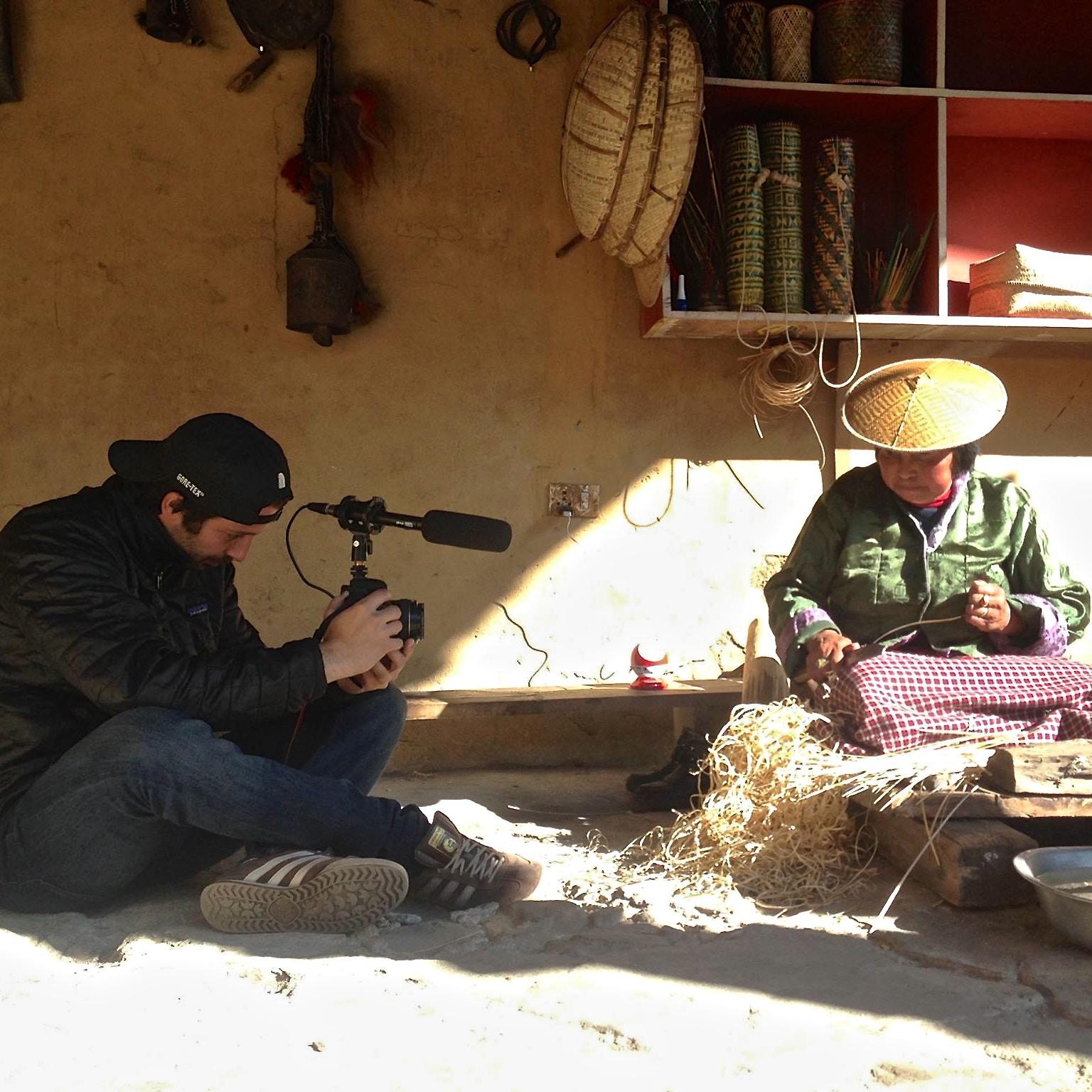 MyBhutan's Vincent Roazzi Jr. documenting a weaver.