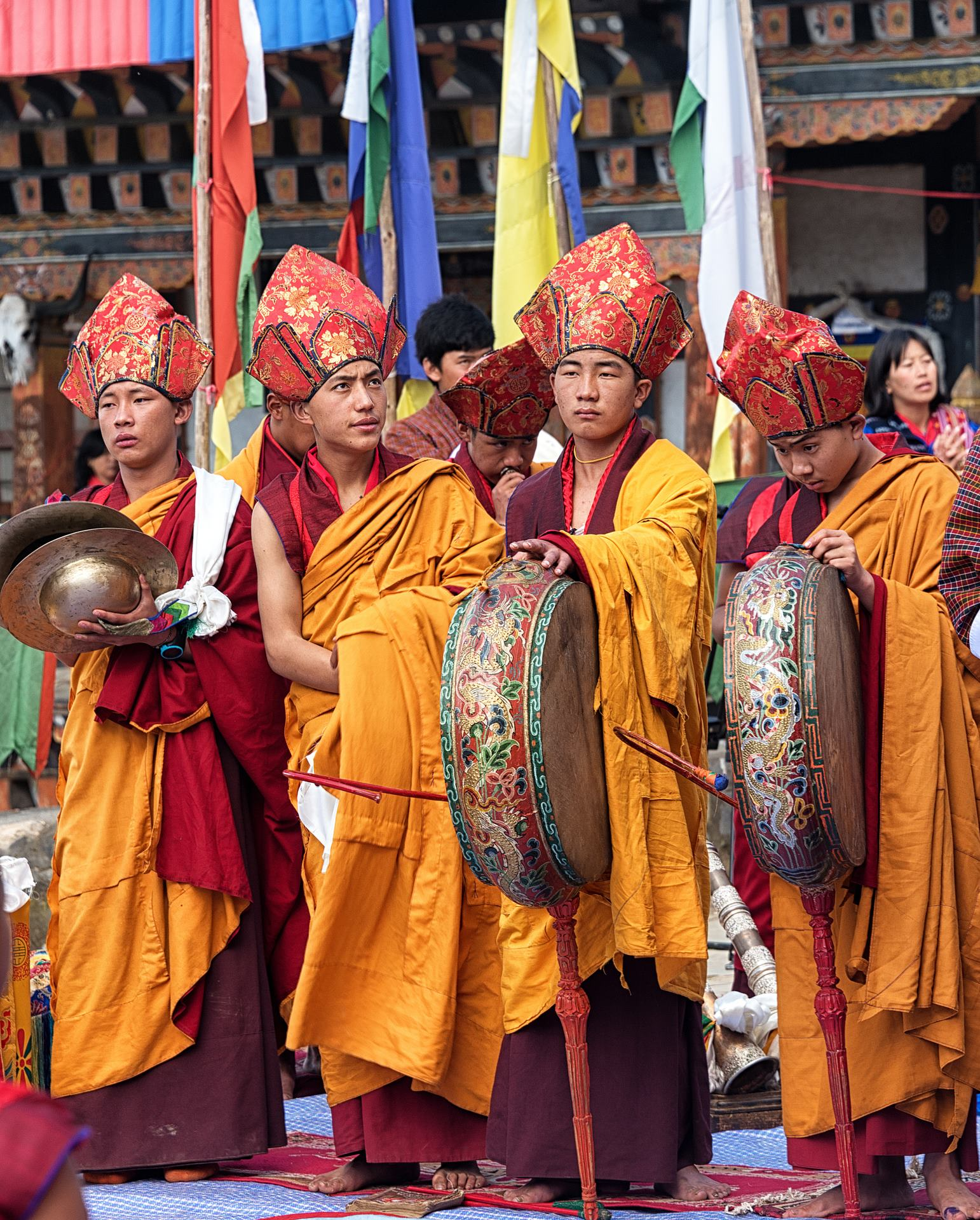 Monks of Padtsheling Monastery, Bumthang, in their ceremonial best