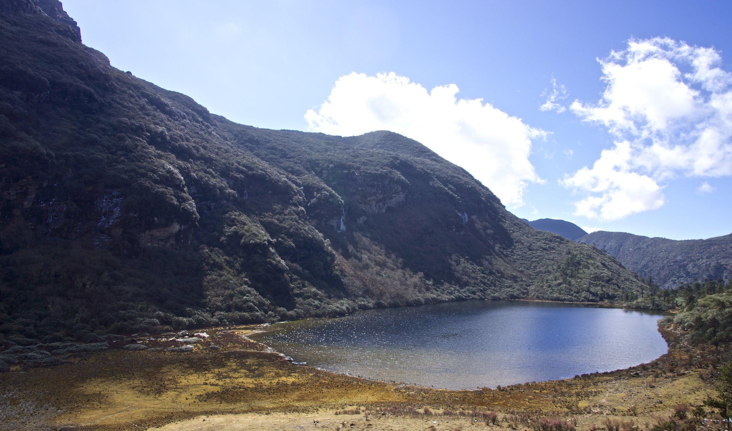 A campsite near a sacred lake.