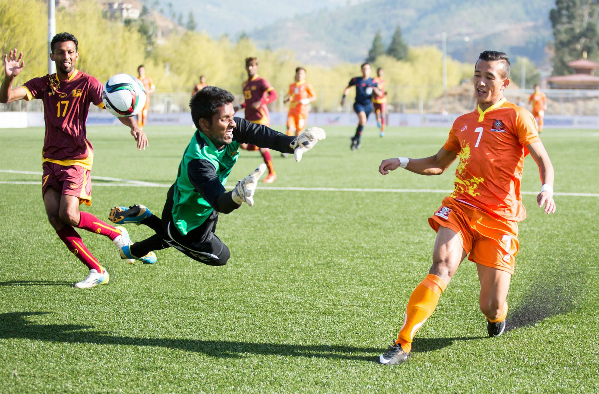 Chencho Gyaltshen scoring the first World Cup goal in Bhutan's history.