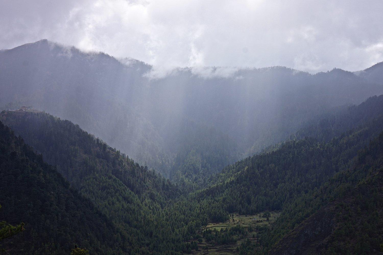 In between Haa's Meri Phuensum mountains