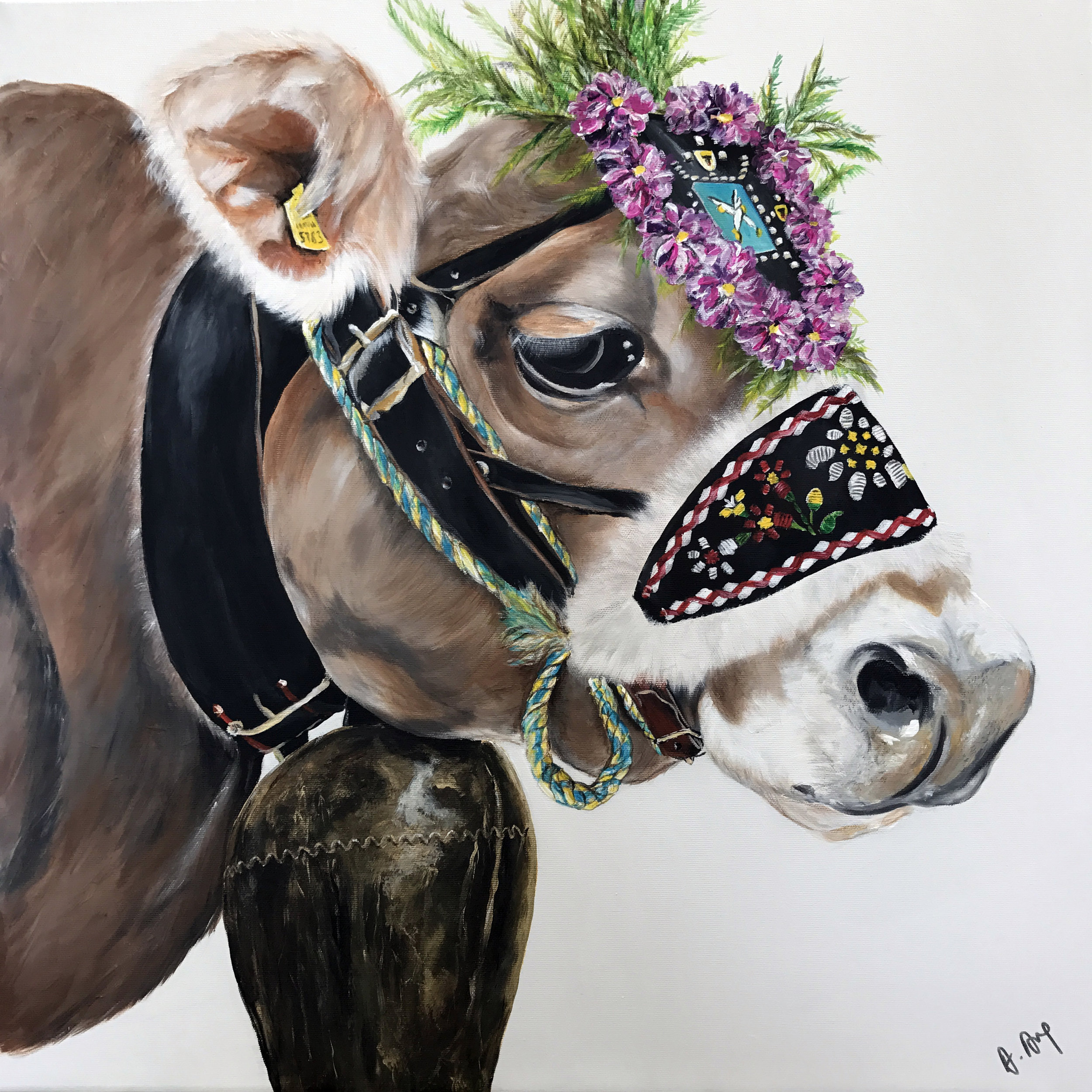 Hippie Cow 60 x 60 (Not for sale)